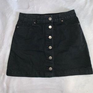 Black Denim Button Up Skirt